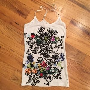 Free People embroidered tank top. Extra small